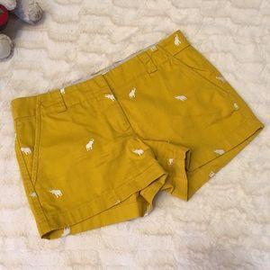 J Crew Elephant Embroidered Shorts Sz 6
